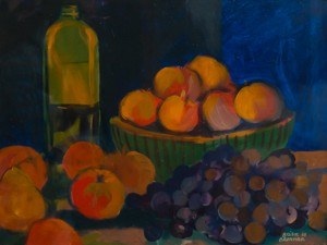 WC - Fruit and Olive Oil Still Life
