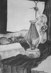 """PSL - Western Theme """"Old Shoes Oil Lamp and Skull"""""""
